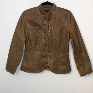 Embroidered scallop hem brown leather jacket